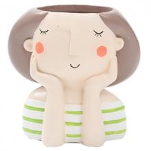 עציץ פרצוף- ילדה בחולצת פסים ירוק לבן
