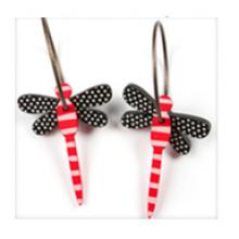 עגילי שפיריות שחור לבן אדום