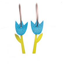 עגילי טוליפ כחול