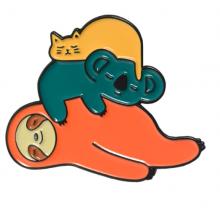 סיכת דש ערימת חיות- חתול, קואלה ועצלן