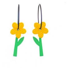 עגילי פרחים צהובים