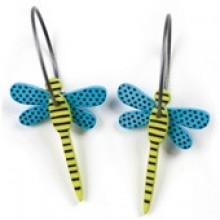 עגילי שפיריות כחול ירוק