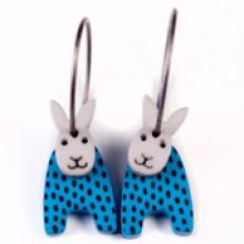 עגילי ארנבים כחול נקודות