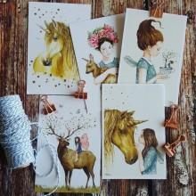 מארז חמש גלויות, חוט ואטבים- דגם פיות