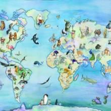מפת עולם מאויירת- חיות