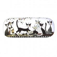 קייס למשקפיים ומטלית מעוצבת- חתולים שחור לבן זהב